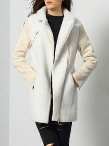 Beige Long Sleeve Lapel Coat