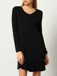 Black Long Sleeve Casual Dress