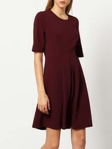Burgundy Round Neck A Line Dress