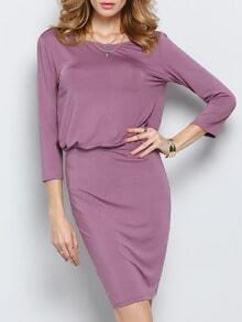 Vestido manga media espalda V -violeta