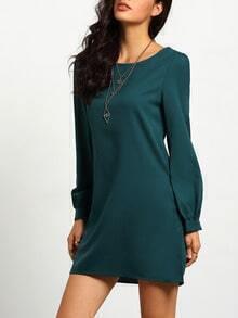 Army Green Long Sleeve Casual Dress