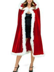 Christmas Hooded Long Cape Coat