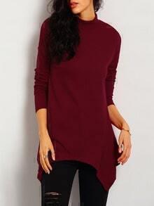 Wine Red Long Sleeve Asymmetric Sweater