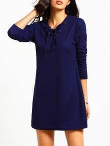 Navy V Neck Lace Up Dress
