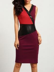 Multicolor Sleeveless Color Block Dress