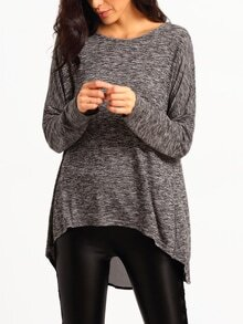 Grey Long Sleeve Split Back Sweater