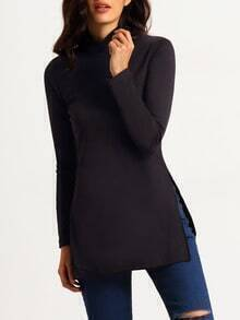 Mock Neck Slit Sweater
