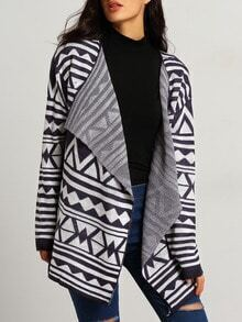 Blue White Long Sleeve Geometric Print Sweater