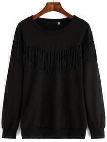 Round Neck Tassel Loose Sweatshirt