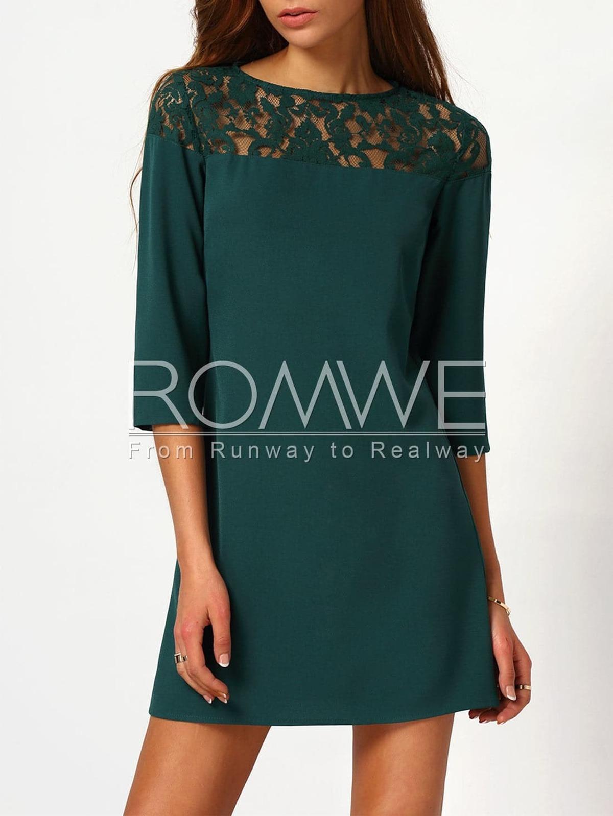 深綠圓領 附有 蕾絲 洋裝