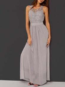 robe longue dentelle sans manche -gris