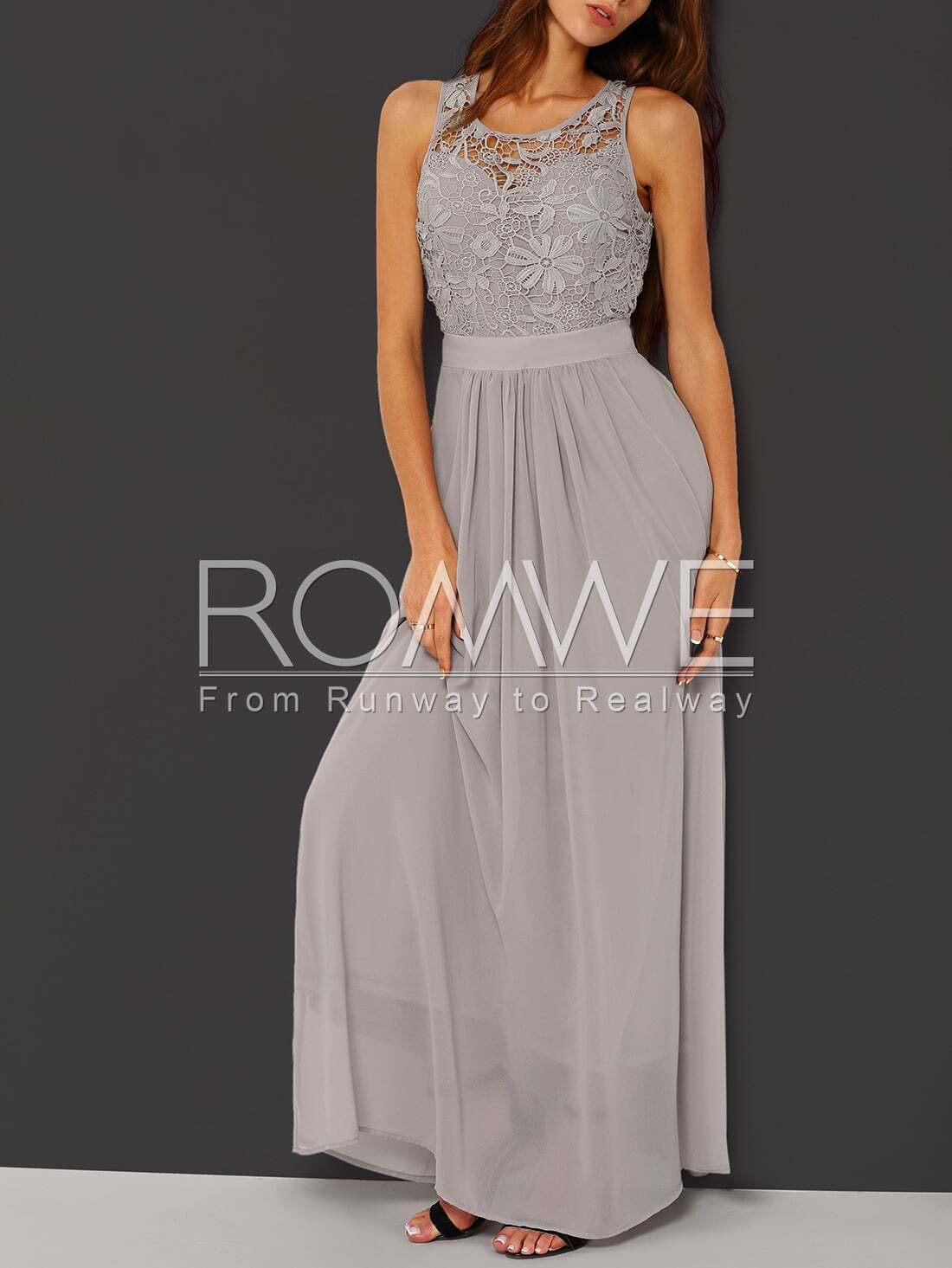 Grey Sleeveless Crochet Lace Maxi Dress