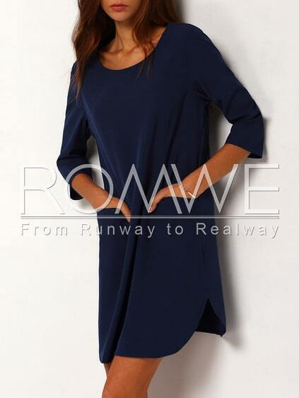 Navy Half Sleeve Pockets Dress