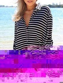 Lapel Striped Buttons Shirt Dress