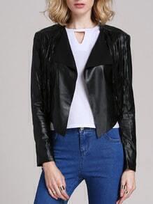 Black With Tassel PU Jacket