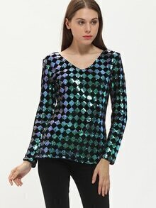 Green Black Long Sleeve Backless Sequined Blouse
