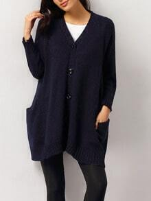 V Neck Buttons Coat Sweater