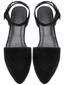 Black Point Toe Ankle Strap Suede Flats