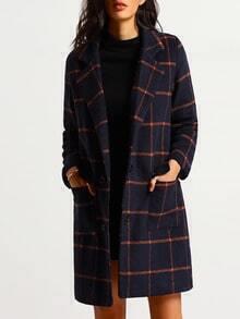 Lapel Plaid Long Coat With Pockets
