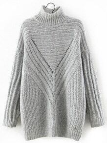 Turtleneck Ribbed Long Grey Sweater