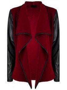 Burgundy Waterfall PU Leather Sleeve Coat