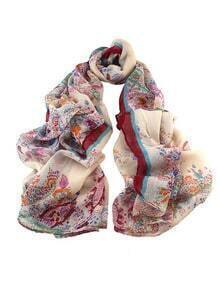 New Fashion Voile Winered Flower Printed Women Scarf
