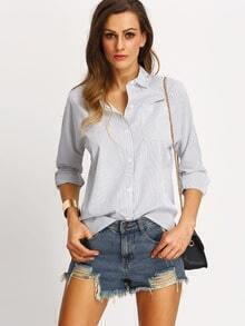 White Vertical Striped Pockets Blouse