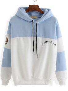 Hooded Drawstring Letter Embroidered White Blue Sweatshirt