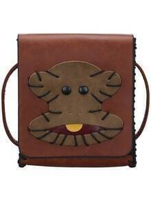 Brown Monkey Patch Magnetic PU Bag