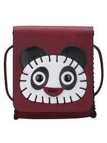 Burgundy Panda Patch Magnetic PU Bag