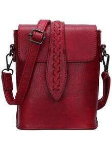 Burgundy Magnetic Plait PU Bag