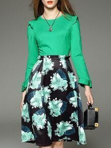 Green Ruffle Print A-Line Combo Dress