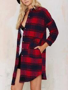 Plaid Boyfrined Blouse With Pockets