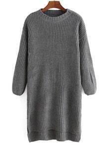High Low Slit Grey Sweater Dress