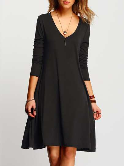 Black V Neck Tshrit Dress In Jersey