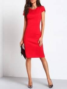 Red Cap Sleeve Knee-length Pencil Dress