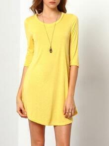 Lemon Yellow Round Neck Slim Dress
