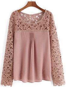Pink Scoop Neck Lace Splicing Chiffon Blouse