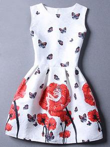 Red White Sleeveless Floral Jacquard Dress