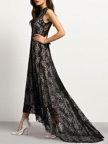 Black Lace Sash High Low Dress