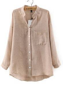 Beige Stand Collar Pockets Loose Blouse