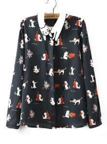 Black Embroidered Collar Cat Print Blouse