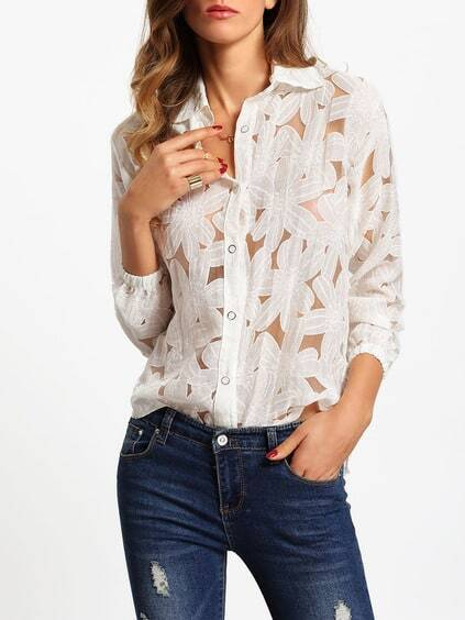 White Lapel Long Sleeve Sheer Blouse