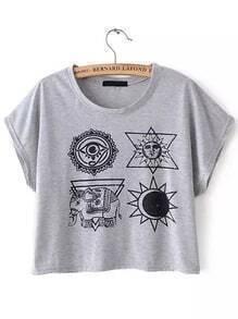 Grey Short Sleeve Elephant Print Crop T-Shirt