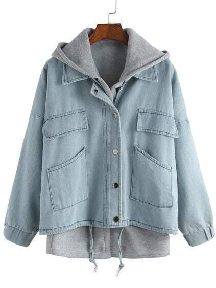 Hooded Drawstring Denim Outerwear