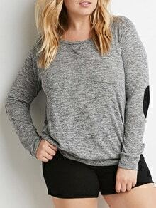 Grey Long Sleeve Patch Plus T-shirt