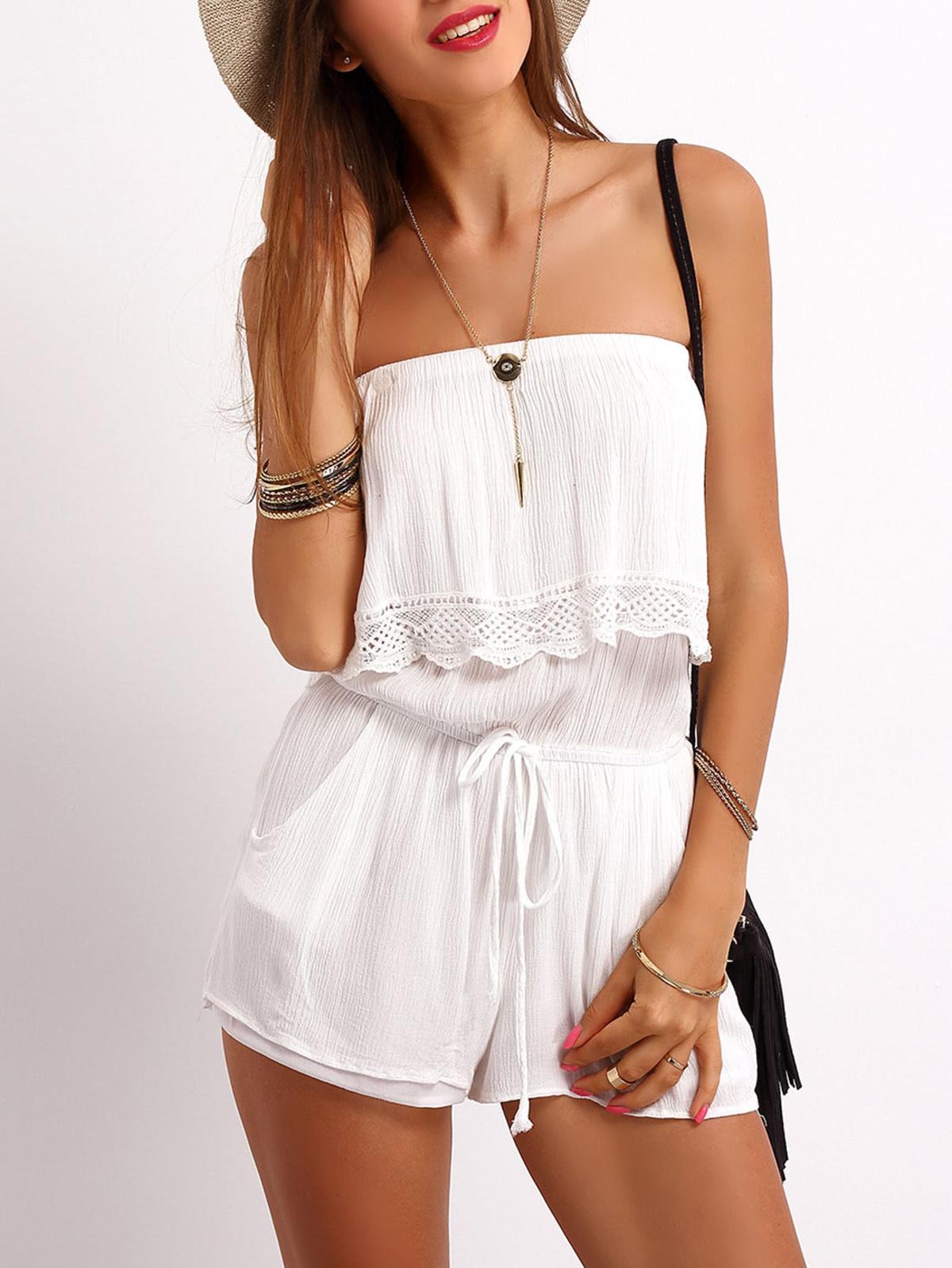 白色 無肩帶的 荷葉邊 束帶 連身服飾