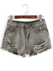 Grey Ripped Fringe Denim Shorts