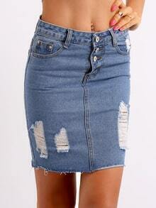 Blue Ripped Buttons Denim Skirt