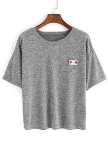 T-Shirt col rond manche courte -gris
